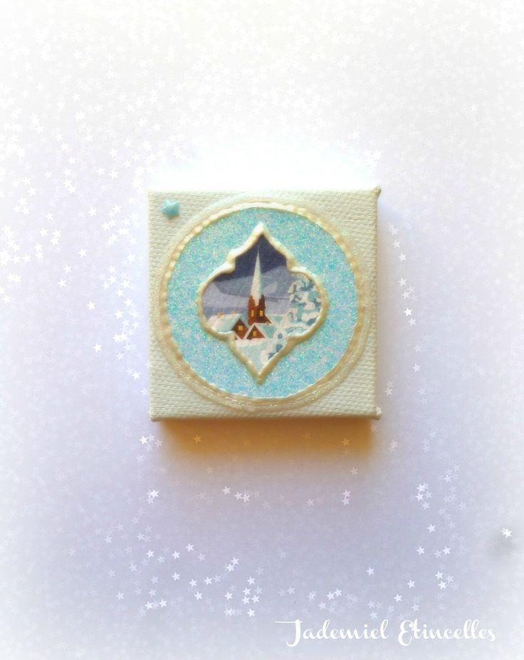 """* Noël * Toile miniature décorative série """" Sainte Nuit ... """" n°77 : Accessoires de maison par jademiel-etincelles"""