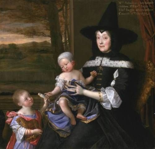 """Check out her hat!!!  """"Portrait of Mrs Salesbury with her Grandchildren Edward and Elizabeth Bagot"""" by John Michael Wright, 1675 England, Tate Britain"""