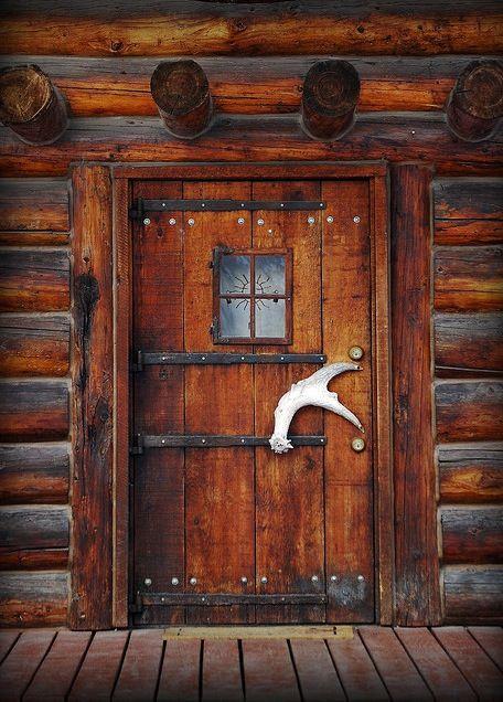 Cabin Door Interesting Antler Handle Rustic Decor Ideas Pinterest