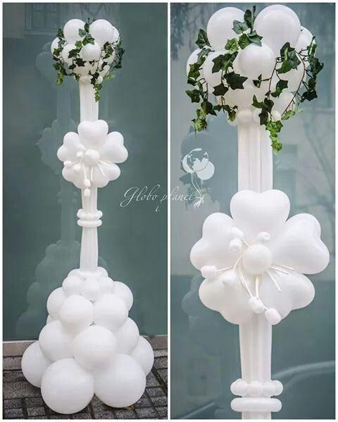 Columna blanca de globos para boda   -   White Wedding Balloon Pillar                                                                                                                                                      Más