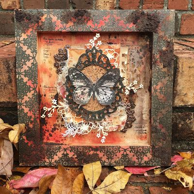 Mixed media reverse canvas by Autumn Clark using Darkroom Door Star Border Stamp