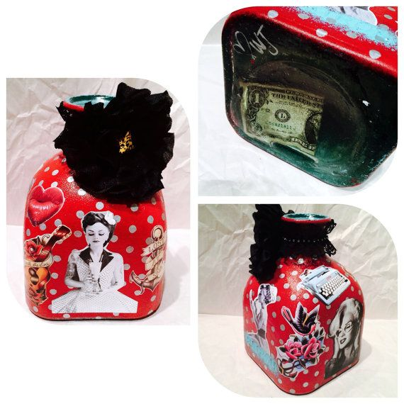 Pin Up Style Edition Custom Made Coin Jar Large by WanderLustJars