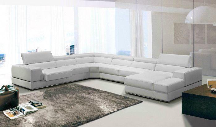 Divani Casa Pella Modern White Leather Sectional Sofa Sala In