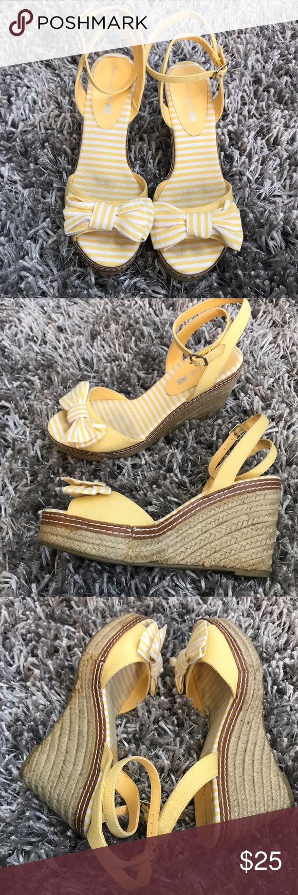 AE Outfitters Wedge Sandal Heel Yellow Stripe 8 ⭐️️the perfect summer shoe  ⭐️️wrap around ankle strap  ⭐️️open toe ⭐️️Women's Size 8 ⭐️️see pics for wear  050617-10 t6 🚫trades please American Eagle Outfitters Shoes Sandals