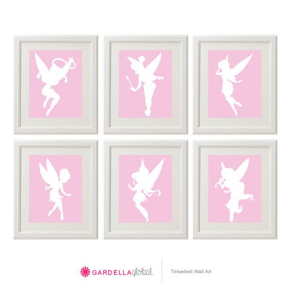 Customizable Tinkerbell Silhouette wall art, Tinkerbell faires, Fairy wall art, Disney Tinker bell Decor