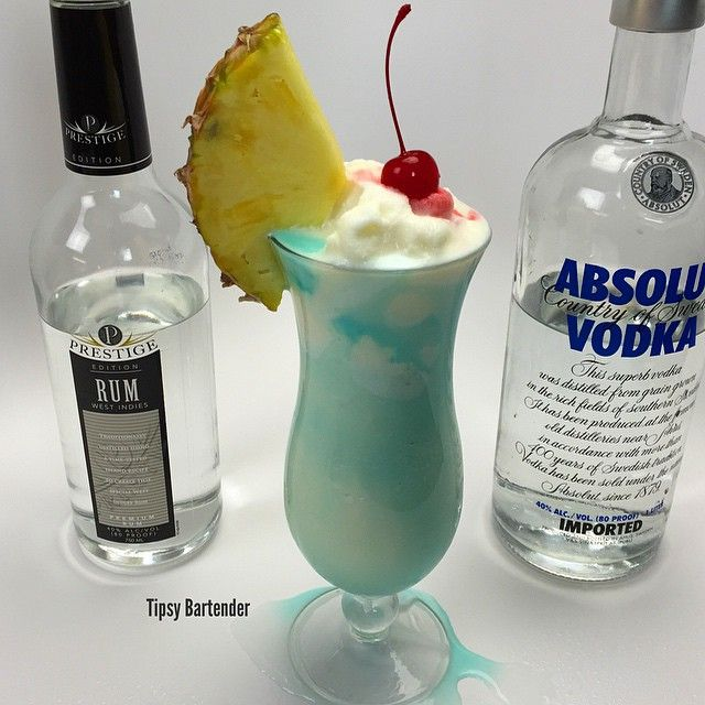 Tipsy BartenderTHE SWIMMING POOL COCKTAIL 1 1/2 oz. (45ml) Vodka 1 1/2 oz. (45ml) Rum 1 1/2 oz. (45ml) Sweetened Condensed Milk 2 oz. (60ml) Pineapple Juice 1 oz. (30ml) Blue Curacao  Pineapple Slice Cherry