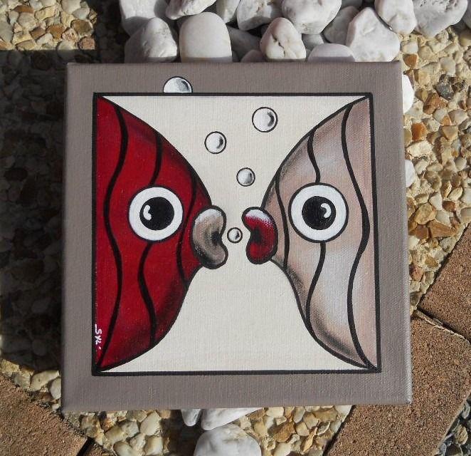 Tableau des deux poissons amoureux... : Décorations murales par les-toiles-de-mer-de-syl