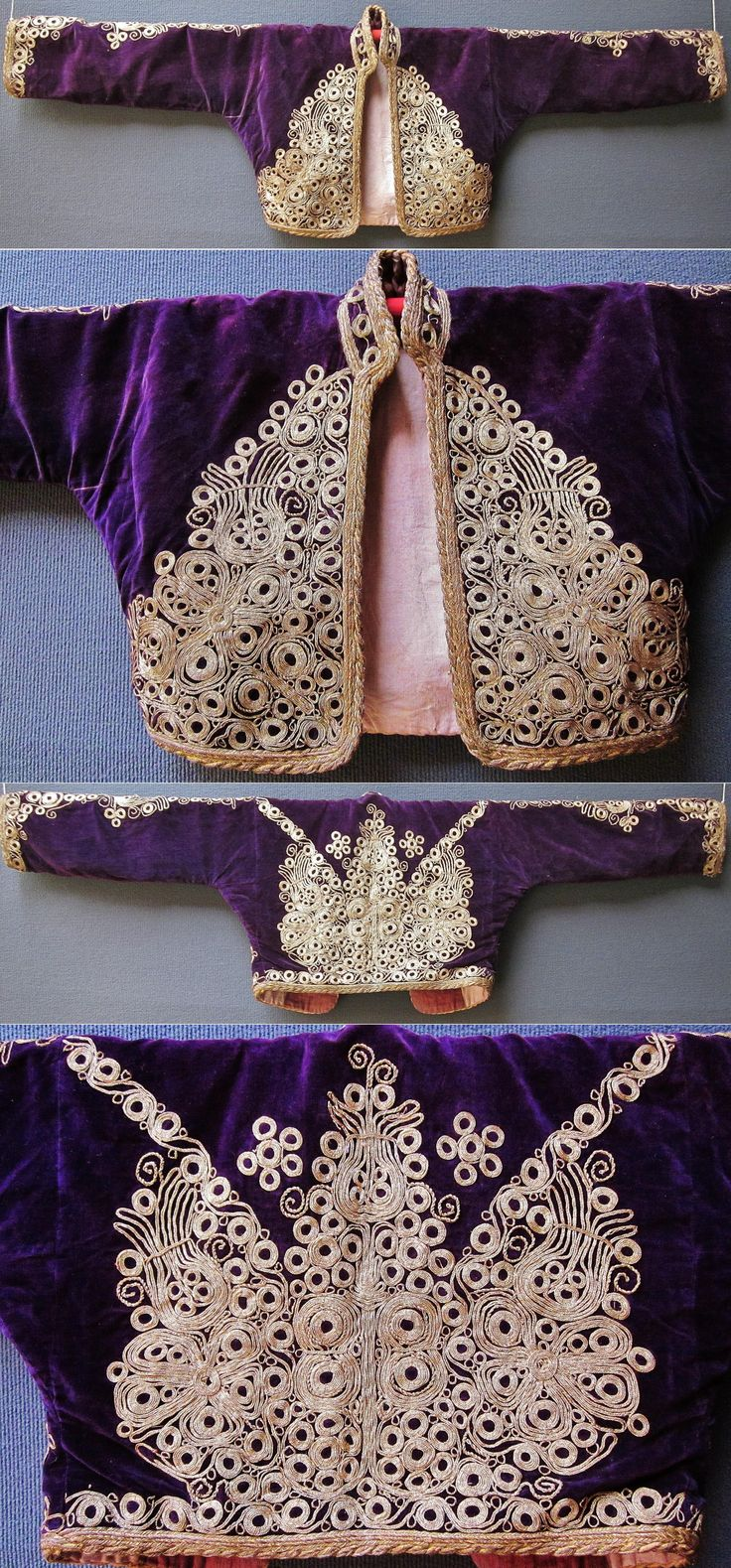 Embroidered women's 'cepken' (long-sleeved vest) from Balıkesir (central district). Part of a festive costume, early 20th century. Golden metal thread on silk velvet; embroidery technique: 'kordon tutturma' (applied cord). (Inv.nr. cep029 - Kavak Costume Collection - Antwerpen/Belgium).