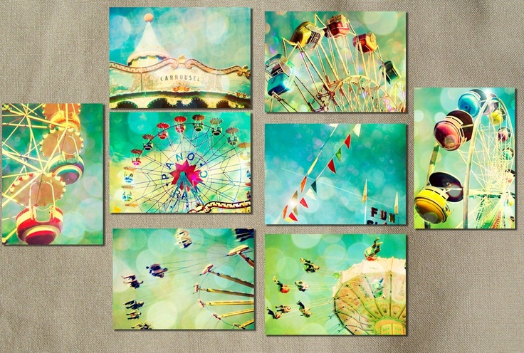 vintage carnival photos: Wall Art, Crafts Ideas, Carnivals Photo, Aqua Blue, Kids Plays Rooms, Nurseries Art, Ferris Wheels, Vintage Carnival, Kids Rooms