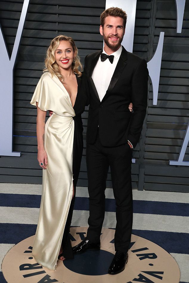 c3b66f8f993b64 Miley Cyrus and Liam Hemsworth from 2018 Vanity Fair Oscars After-Party The  longtime loves coupled up at the Vanity Fair after-party on Sunday.