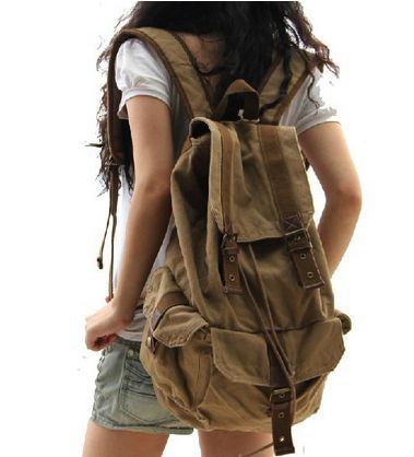 This Classic Style Canvas Rucksack Backpack is good for all outdoor activities, traveling, school.