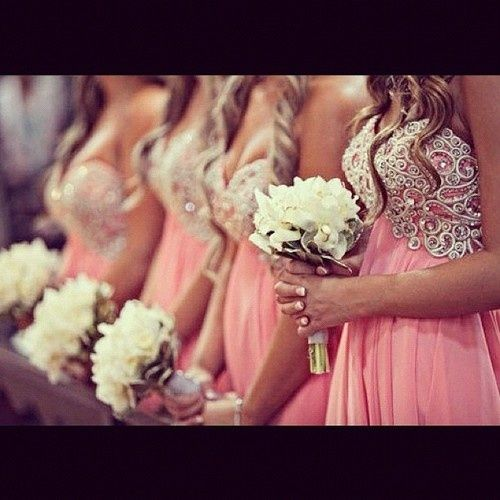 Coral bridesmaids dresses! Love these bridesmaids dresses and the color!
