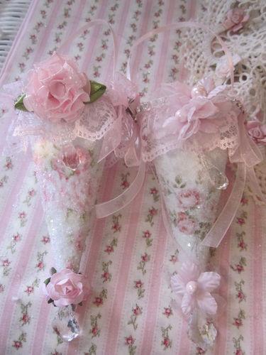 Shabby Sugared Pink Rose Fabric Cone Victorian Ornaments w Lace Rhinestones