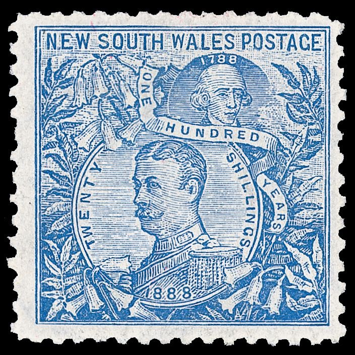 New South Wales 120b var (350 var) 1905 20' cobalt-blue Lord Carrington, chalk-surfaced paper, ERROR - wmk Crown and A in Circle inverted, and VARIETY - perf 11