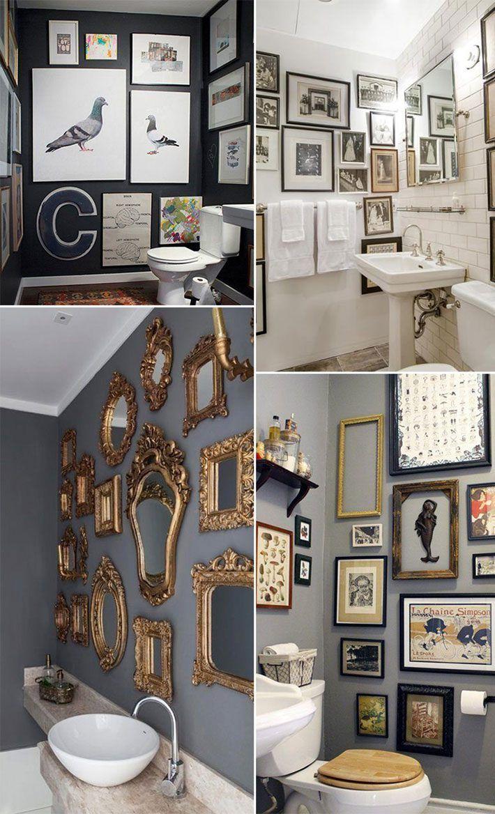 Como fazer mosaico de quadros no lavabo você pode ir encaixando quadros de vários tamanhos. Vale colocar fotos, desenhos, pinturas e tudo aquilo que tiver a sua cara. Pode ser colocado em uma parede só ou em mais de uma. Tudo depende do tamanho do seu lavabo.