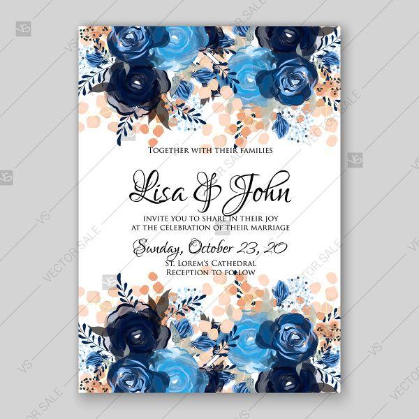 Royal Blue Rose Indigo Watercolor Floral Wedding Invitation Thank