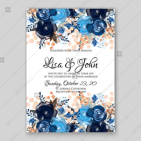 Royal Blue Rose Indigo Watercolor Floral Wedding Invitation Thank