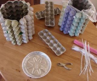 Handmade Moon Egg Carton Waste Baskets Egg Cartons
