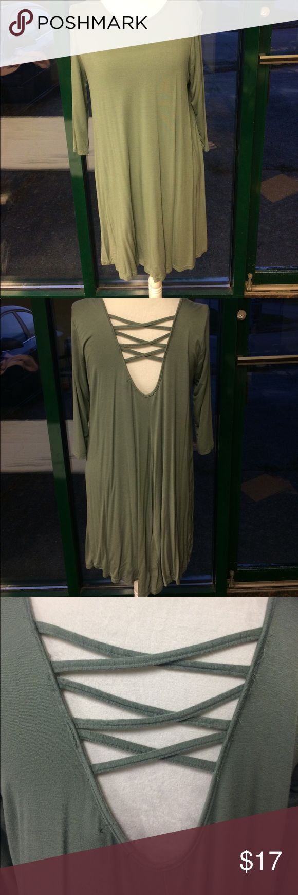 Rue 21 shift dress Rue 21 shift dress size XL but can fot L as well. Worn twice GREAT condition! Olive green color. Sleeves are 3/4. Deep V in the back with cross design. Rue 21 Dresses