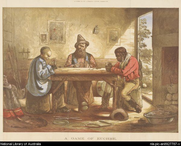 Johnson, J. C. F. (Joseph Colin Francis) A game of euchre in the Ballarat Fine Art Gallery - life on the goldfields - and a scene of tolerance that was not always the norm.