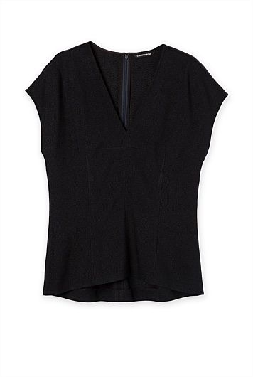 V-Neck Dart Top. The vertical darts can add curves to this body shape.