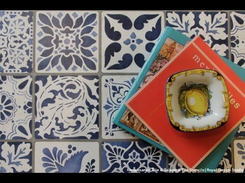 How to Stencil Tutorial: Painting a Tile Vintage Table Makeover with Ann...
