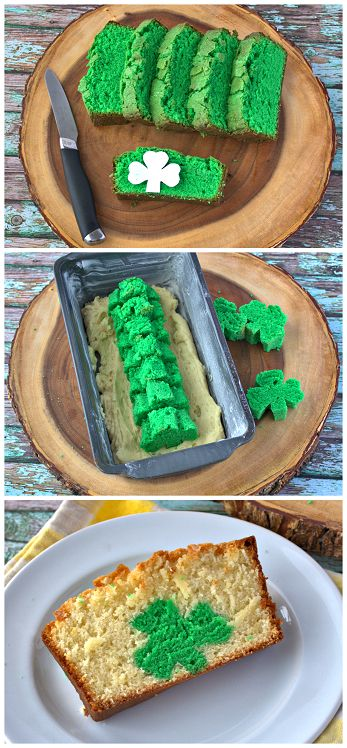 Peek-a-Boo Shamrock Pound Cake Recipe for St. Patrick's Day by @craftymorning0
