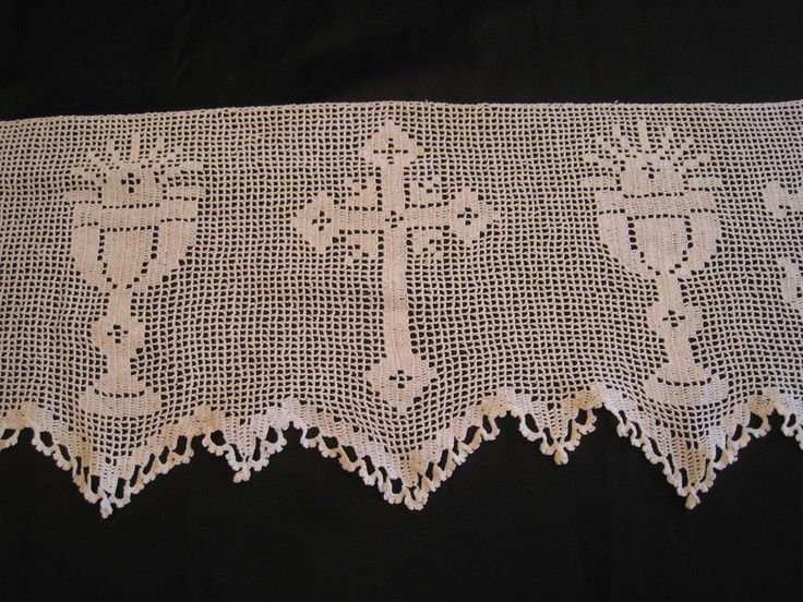 "RARE c1920 Mary Card Very Ornate Filet Crochet Alb Altar Cloth Trim 8x226"" EVC 