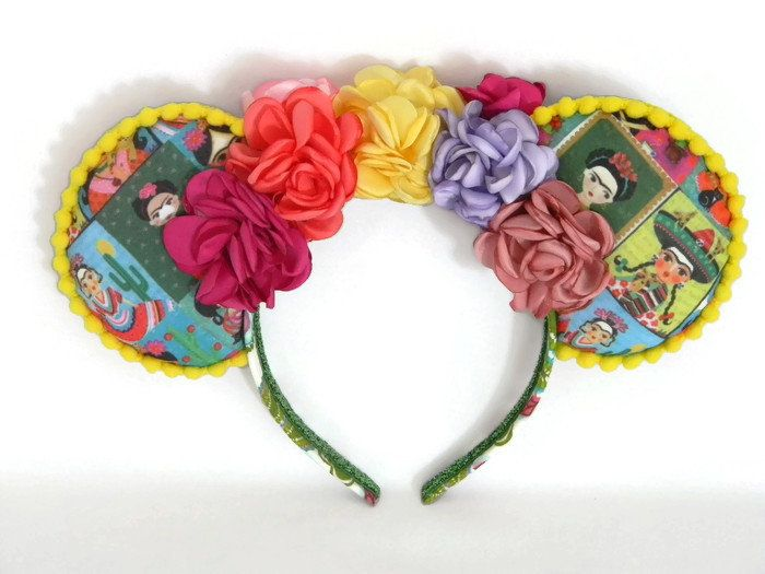 01fec78b9dc9 Coco Minnie Mouse Ears Headband Frida Kahlo w/ Colorful Pretty Flowers and  Yellow Trim Day of the Dead Dia De Los Muertos Disney World Epcot