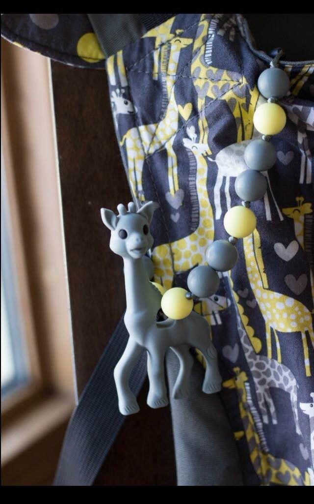 Chompy Chic Chewlery Giraffe teething toy on spotted love tula!  https://www.etsy.com/listing/218660688/chompy-silicone-giraffe-teethers