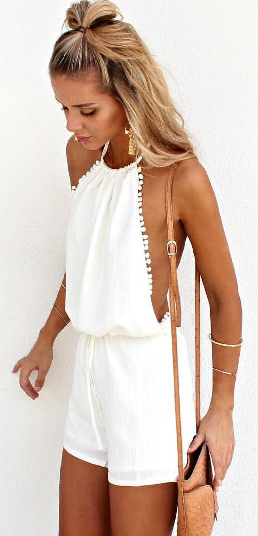 white romper outfit idea