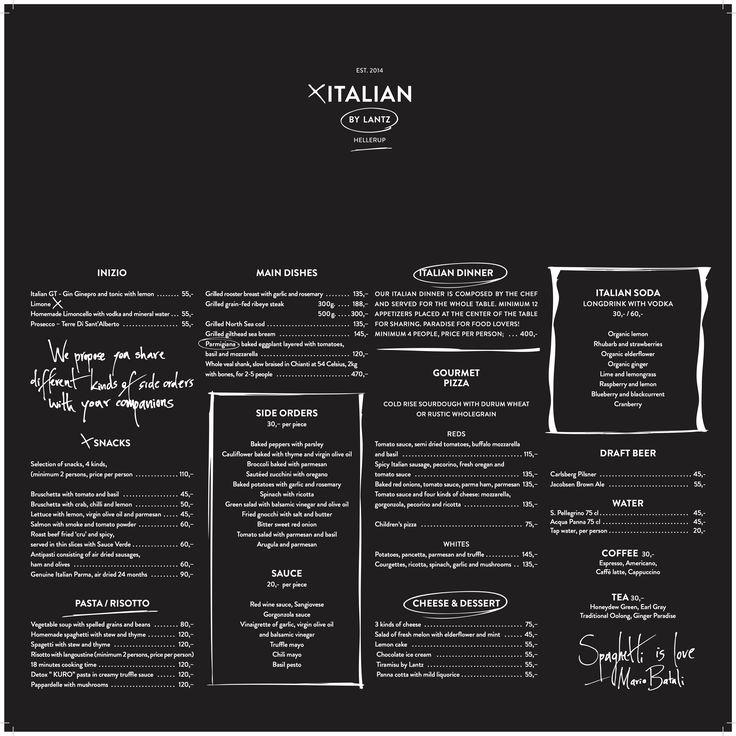Popup Italian By Lantz - English Menu - Frank Lantz Italian By - italian menu