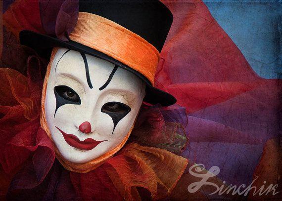 "Extra Large Art Print ""Clown Face"" 13""x19"" - Venetian Carnival Photography. Wall Art"