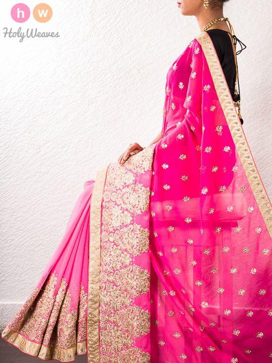 Pink Chiffon Embroidered Saree - HolyWeaves