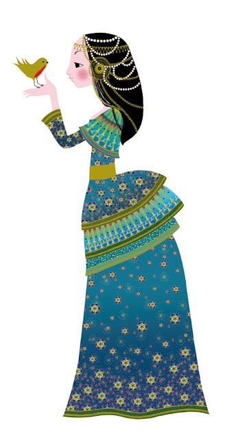 """by children's book illustrator Charlotte Gastaut  """"She is a princess! Work in progress for Djeco."""""""