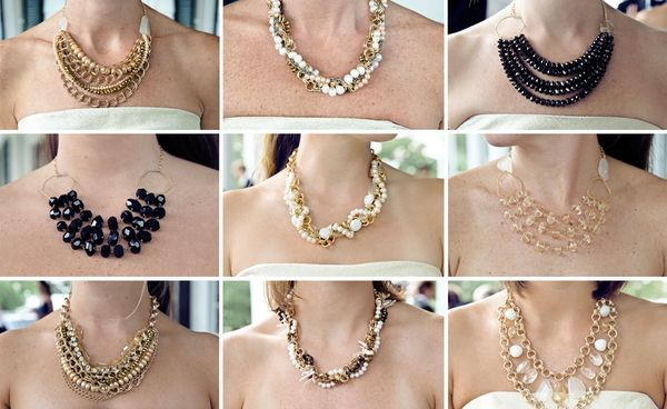 Every bridesmaid needs a statement necklace for a simple dress!