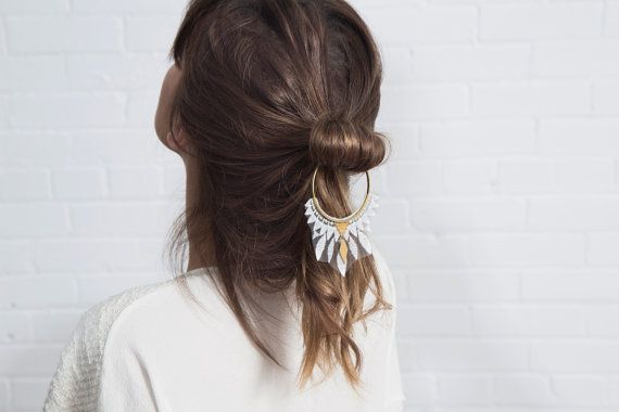 Lace hair accessory  DAZE  White lace brass hoop and door thisilk