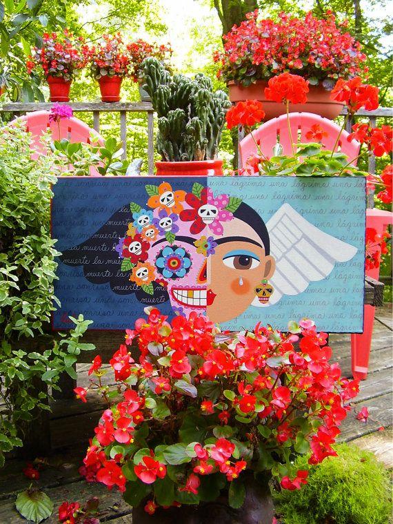 Frida Kahlo Day Of The Dead Sugar Skull Angel ORIGINAL 12 X