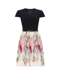 Ted Baker Daysee plissé A-lijn jurk met rozenprint
