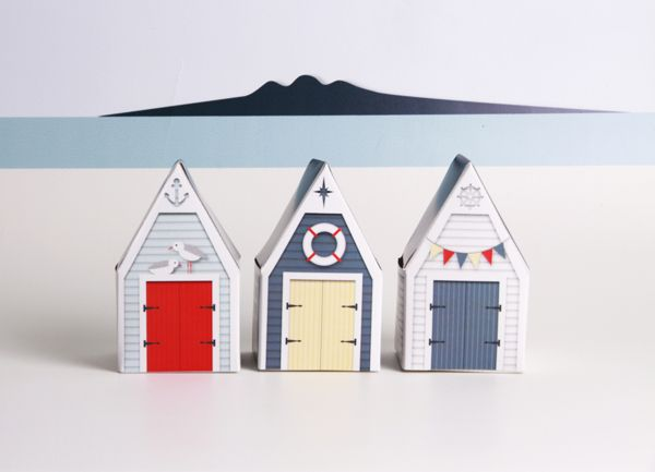 BEACH HUTS - Printable Paper Craft Templates on Behance