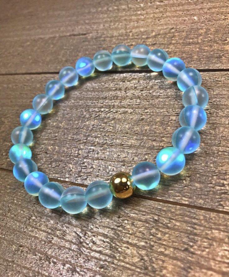 Mermaid Glass Beaded Bracelet, Lake Blue, Beaded Bracelet, Mystic Aura Bracelet – bracelets