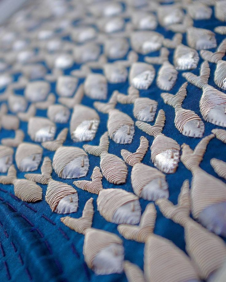 SHOAL OF FISHES #Handembroidery #embroideryart #goldwork #fishes