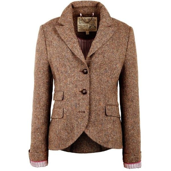 Jack Wills Austerberry Blazer (€150) ❤ liked on Polyvore featuring outerwear, jackets, blazers, coats, brown wool jacket, jack wills jacket, brown blazer, checkered jacket e jack wills
