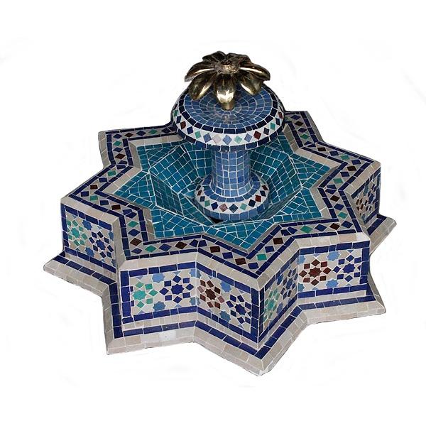 Fuente de agua mosaico estrella azul