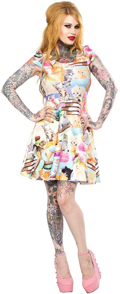 JAPAN LA KITTENS & ICE CREAM CAP SLEEVE DRESS Kitties and tea cups and ice cream oh my!!! This cuter than cute cap sleeve dress from Japan LA wants to be your new forever friend. Featuring a so purrfectly flattering stretch skater dress fit, this adorable all over print dress is a must have for any kitty collector! $75.00 #japanla #kittens #icecream #kitsch #food #foodie