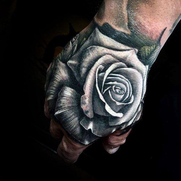 White Rose Flower Realistic Unique Hand Tattoos For Guys Tattooideasforguys Hand Tattoos For Guys Tattoos For Guys Unique Hand Tattoos
