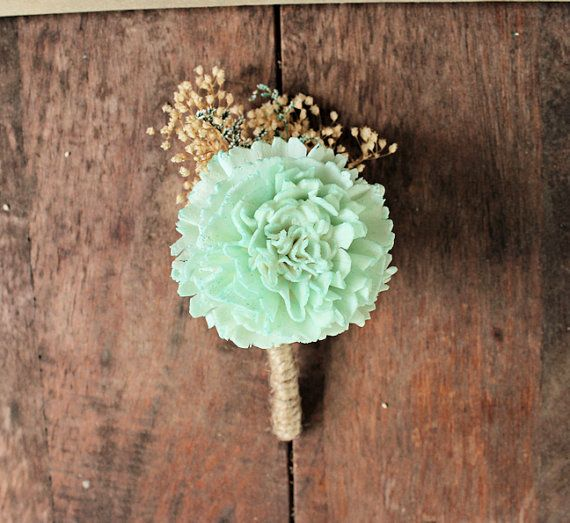 Mint Carnation Boutonniere- Pink and Mint Collection, Groom Wedding, Buttonhole, Groomsmen, Sola Flower, Wedding, Wedding Flowers