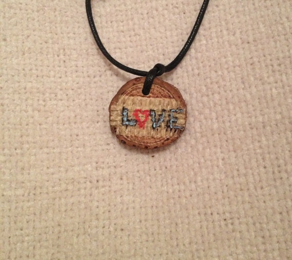 $12.00 Wooden Love pendant with Burlap Acrylic Paint by FireWoodCrafts, €9.00