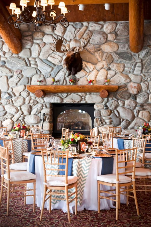 gorgeous reception backdrop. so cozy and yet bright and happy too. check out those chevron table runners!