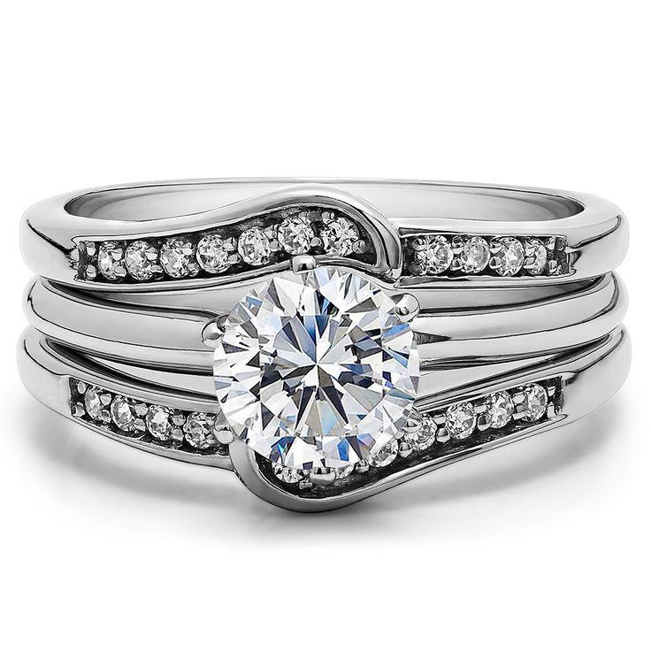 white gold diamond wedding ring enhancer by twobirch